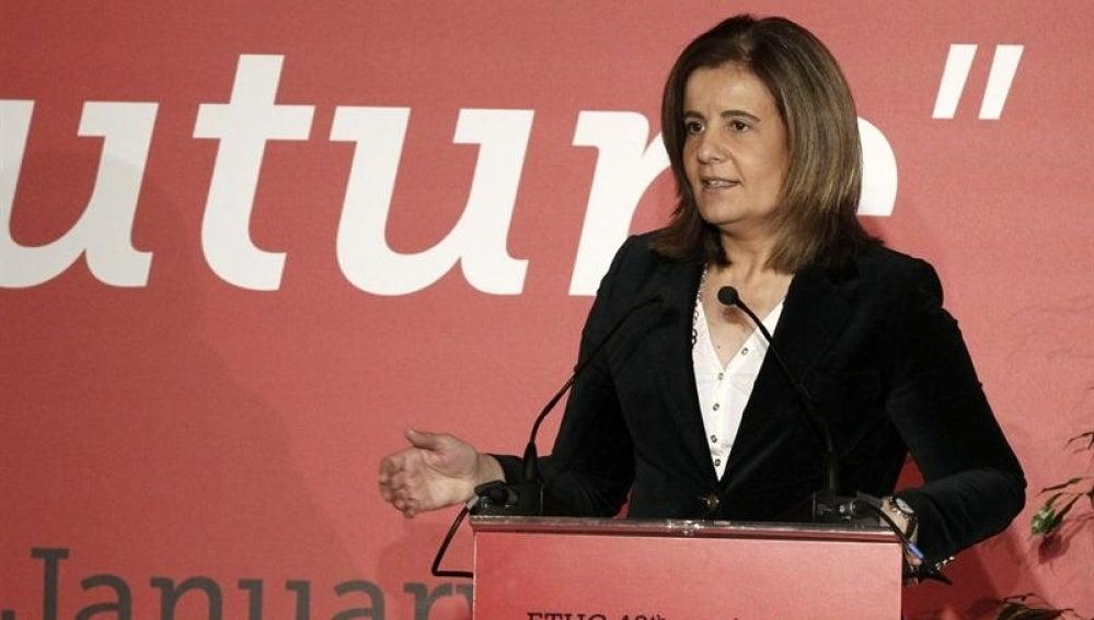 Fátima Báñez durante su intervención en la cumbre con motivo del 40º aniversario de la Confederación Europea de Sindicatos (CES)