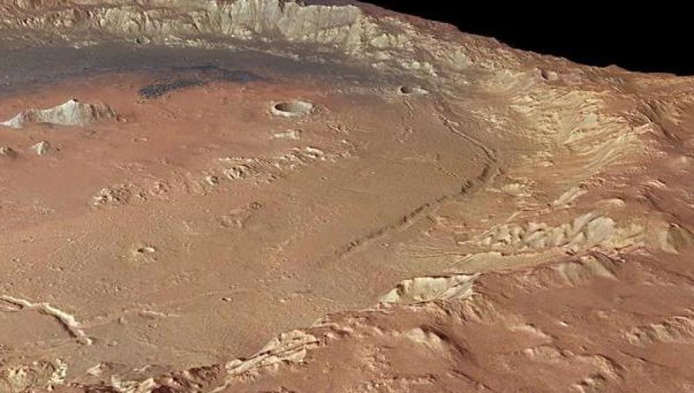 Cráter en las tierras altas del sur de Marte