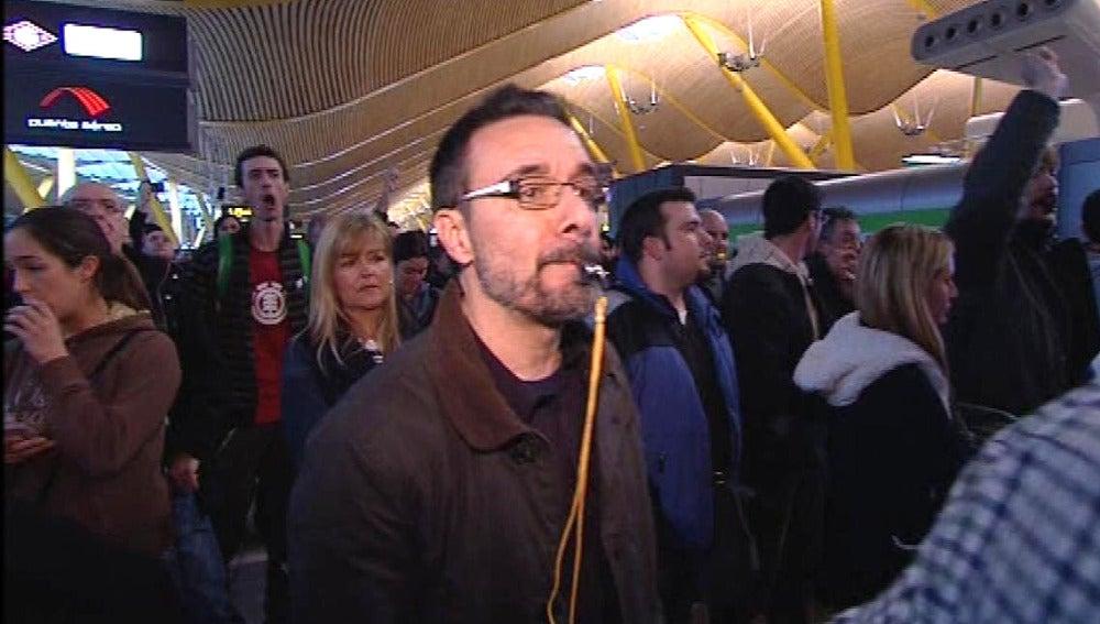 Protestas de trabajadores de Iberia en la T4