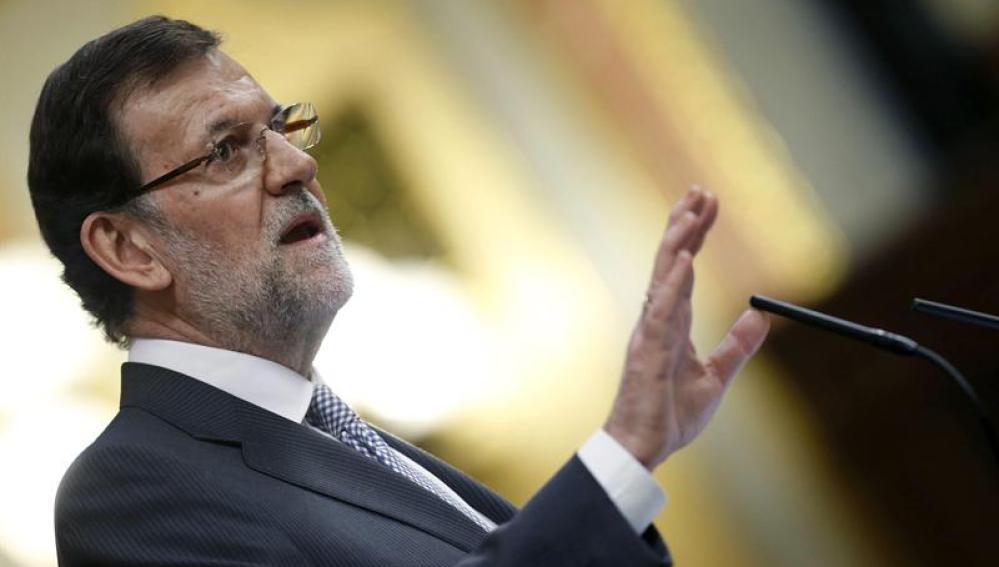 El presidente del Gobierno, Mariano Rajoy, durante el debate sobre el estado de la nación