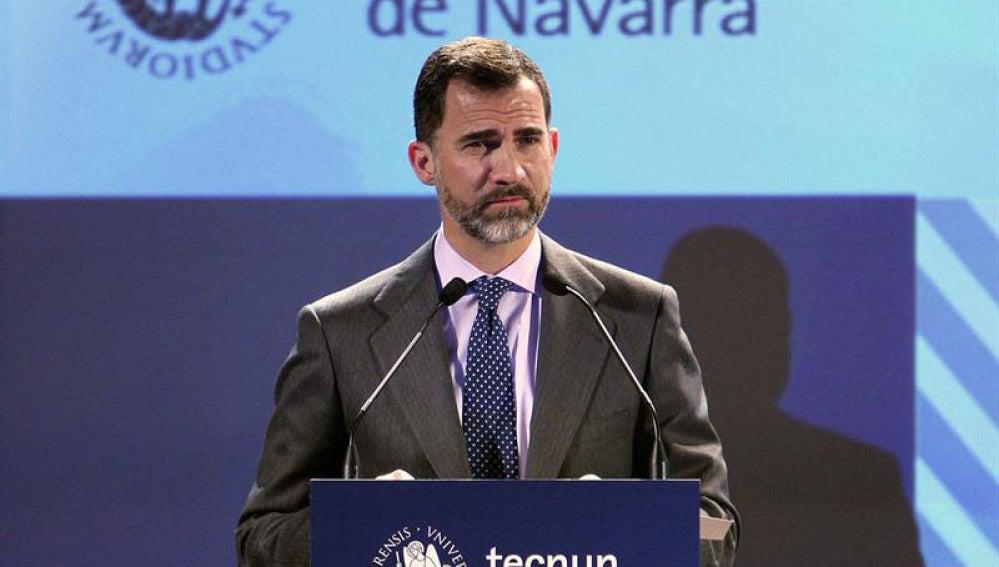 El Príncipe de Asturias durante la inauguración del Foro de Empleo en San Sebastián