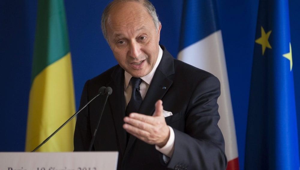 El ministro francés de Asuntos Exteriores, Laurent Fabius, en una rueda de prensa.