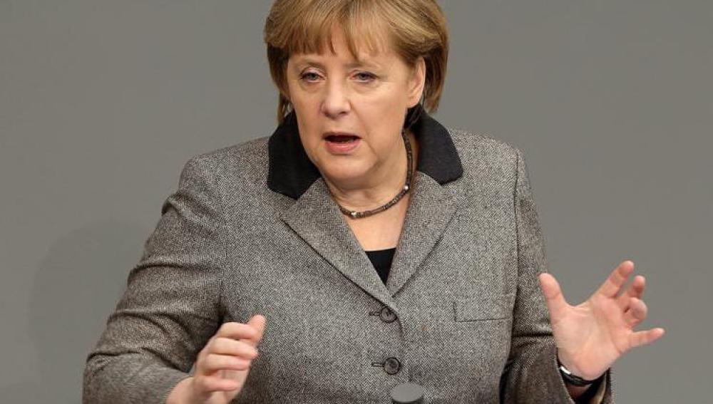 La canciller alemana, Angela Merkel, durante una sesión en el Parlamento alemán