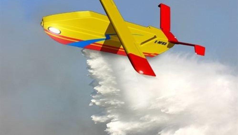 Avión no tripulado para apagar incendios