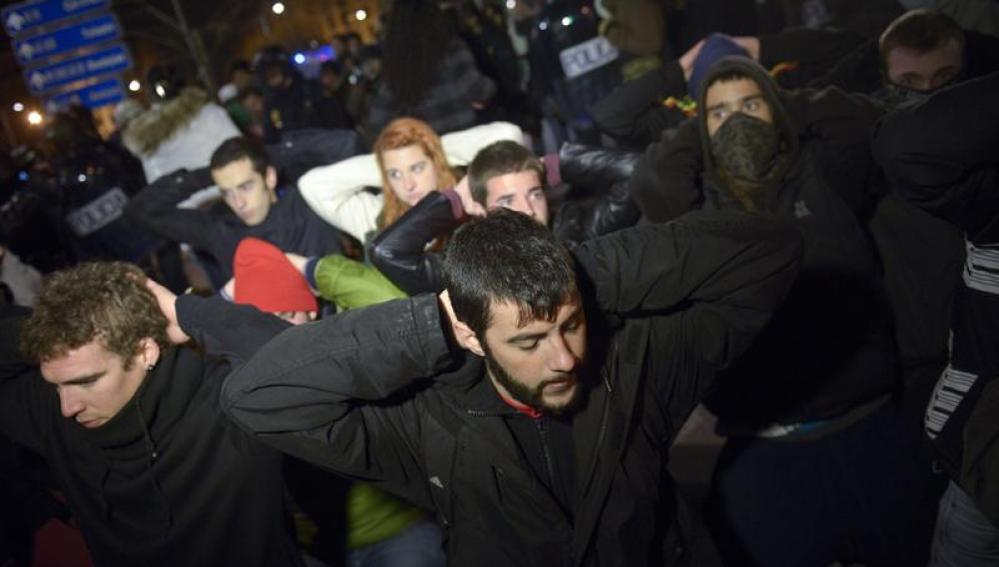 Manifestantes de la Marea Ciudadana en Madrid.