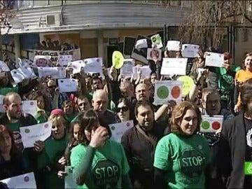 Los afectados por las hipotecas han insistido que se tratan de protestas pacificas