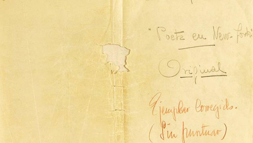 Manuscrito de 'Poeta en Nueva York', de Lorca.