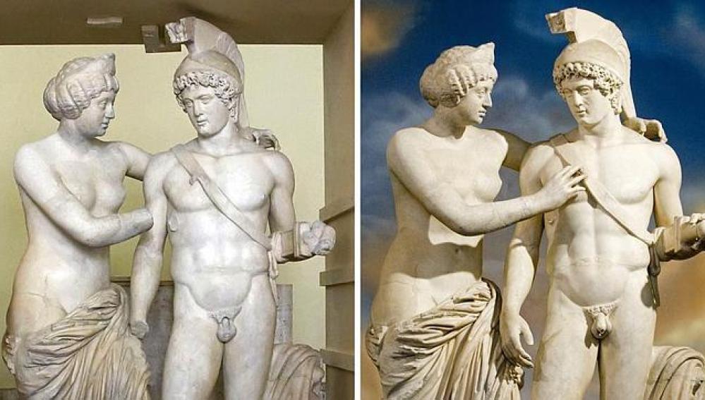 Antes y después de la restauración de la escultura de Marte y también en otra de Venus