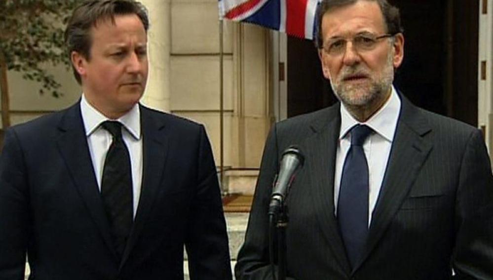 Mariano Rajoy y David Cameron en La Moncloa