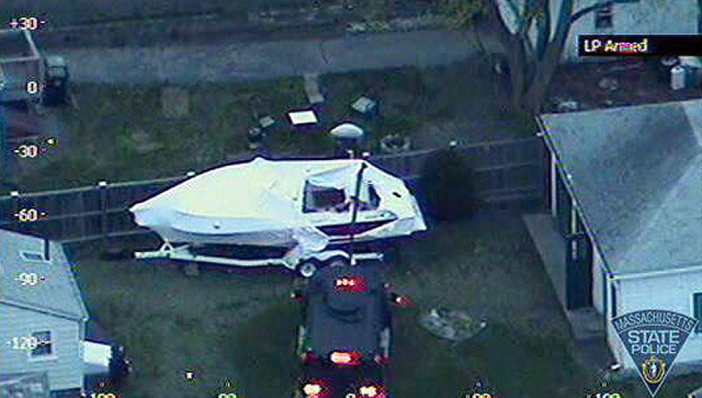 La barca donde permaneció oculto el segundo sospechosos de Boston
