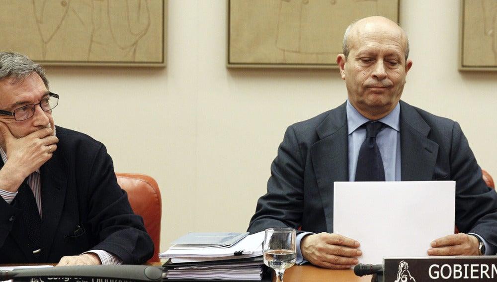 José Ignacio Wert, en la comisión del Congreso