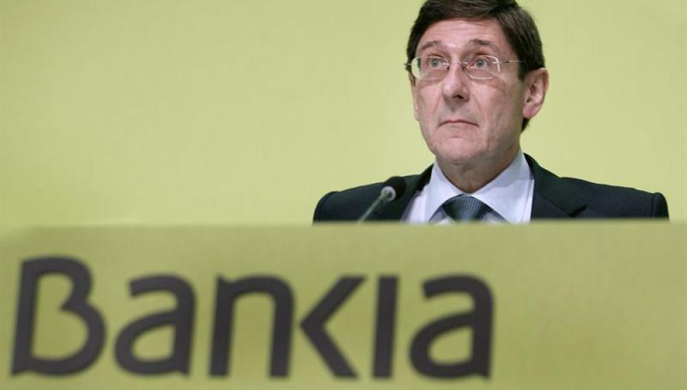 El presidente de Bankia, José Ignacio Goirigolzarri, durante la junta de accionistas