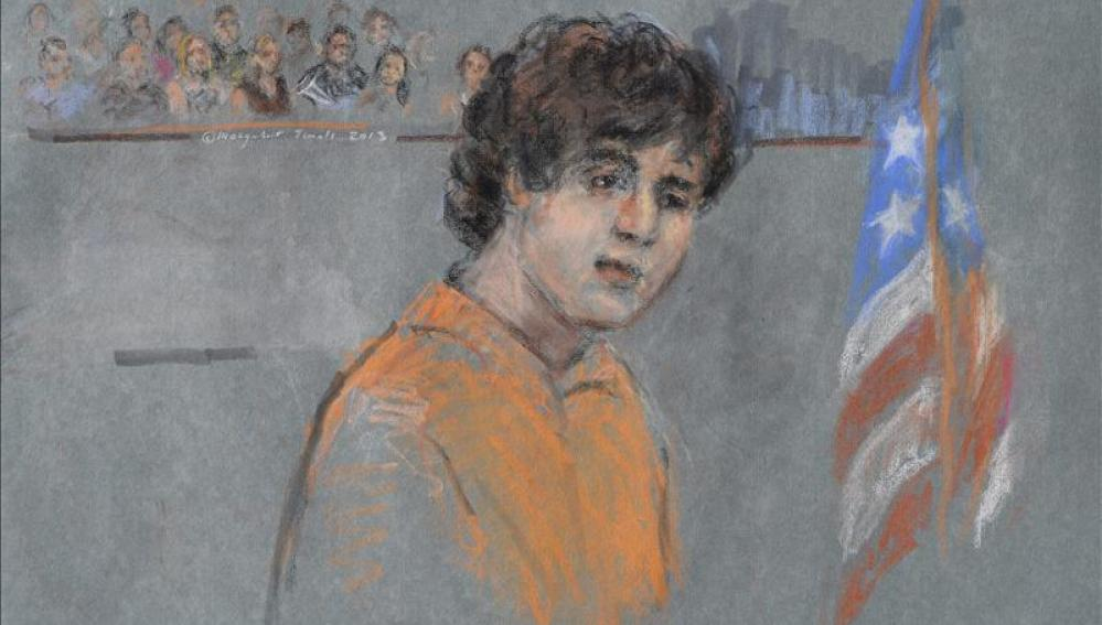 Detalle de un retrato artístico de Dzhokhar Tsarnaev