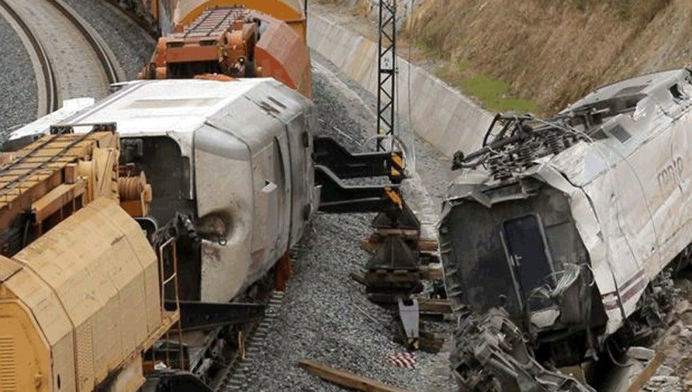 Una de las máquinas del tren siniestrado