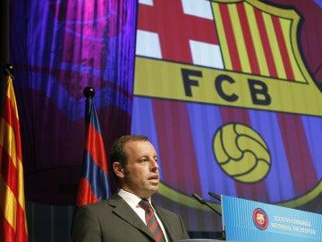 Sandro Rosell en el congreso mundial de peñas del FC Barcelona