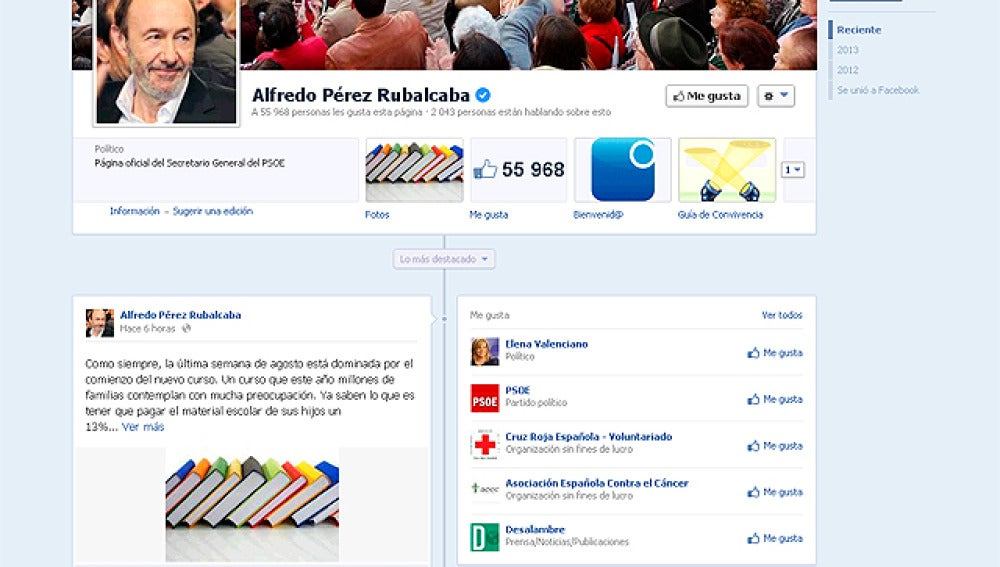 Perfil de Facebook de Rubalcaba