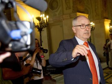 El Síndic de Greuges de Cataluña, Rafael Ribó, tras su comparecencia