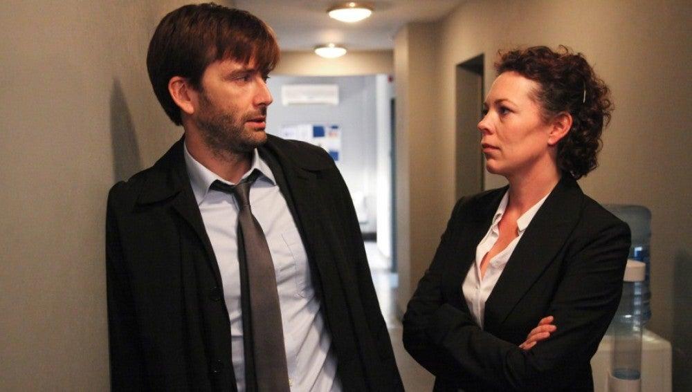 David Tennant y Olivia Colman en 'Broadchurch'