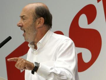 Alfredo Pérez Rubalcaba durante su discurso en la Fiesta de la Rosa