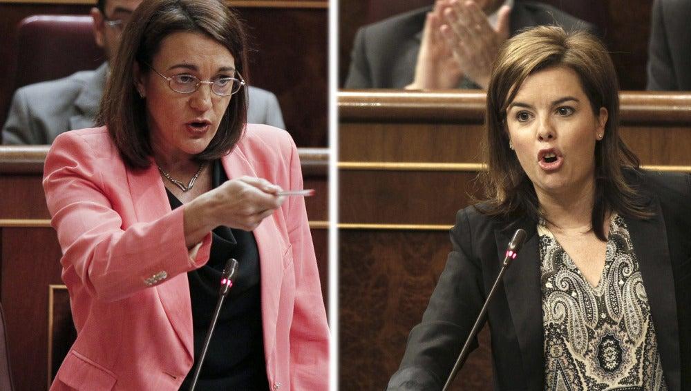 Soraya Rodríguez y Soraya Sáenz de Santamaría en el Congreso