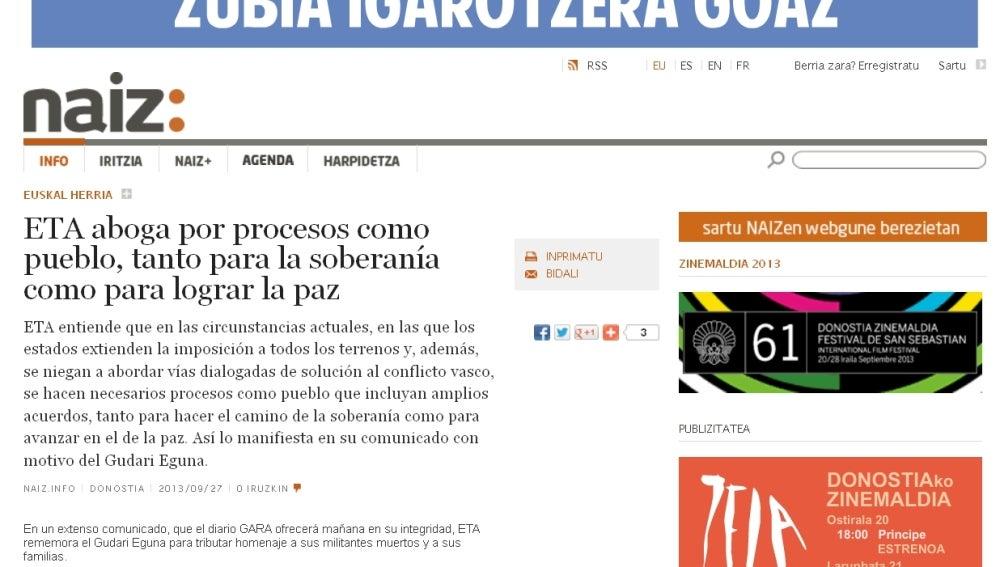 Comunicado de ETA en naiz.info