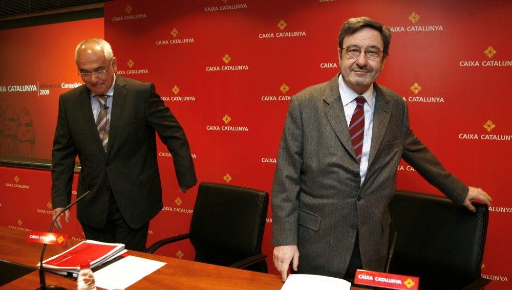 Narcís Serra acompañado de Adolf Todó