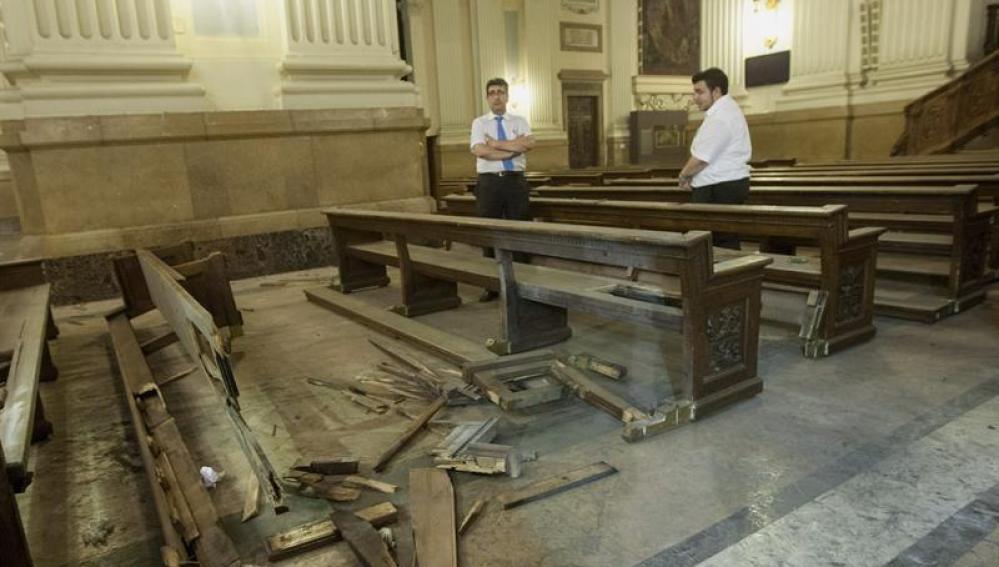 Desperfectos en la basílica del Pilar de Zaragoza
