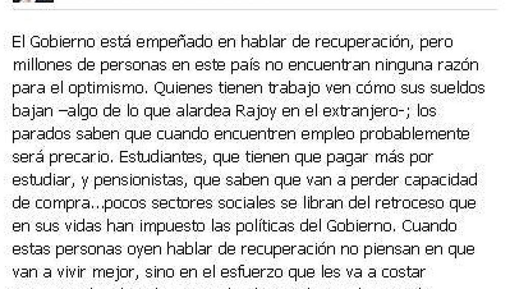 Mensaje de Alfredo Pérez Rubalcaba hacia Rajoy