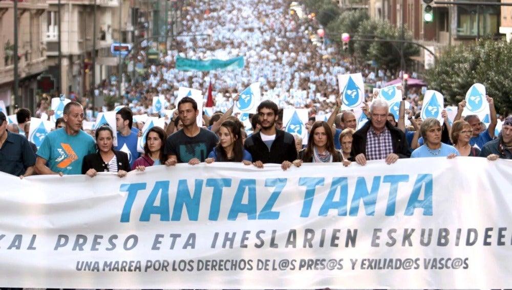 Los 18 detenidos de Herrira, en la manifestación en Bilbao