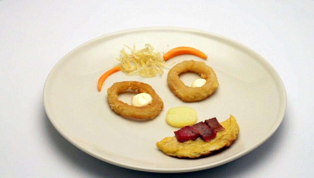 Carita sonriente (x4) (tortilla con hígado y calamares)