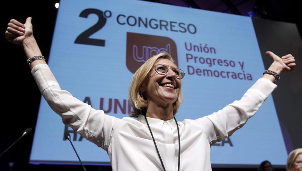 La portavoz de UPyD, Rosa Díez, durante el segundo congreso nacional del partido