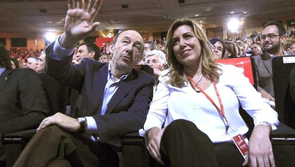 Alfredo Pérez Rubalcaba y Susana Díaz, en la Conferencia Política del PSOE