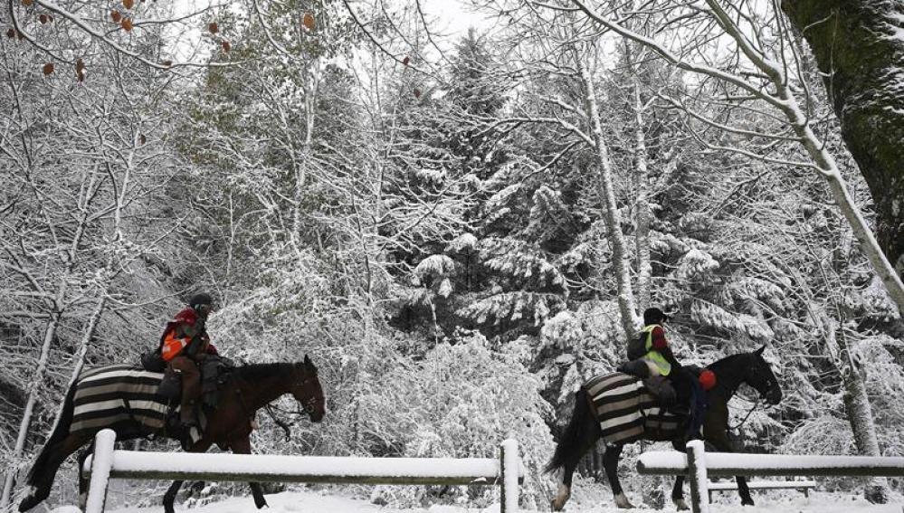 Dos personas montadas en sus caballos pasean por la N-135 en Navarra