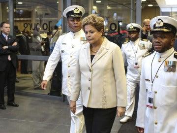 La presidenta de Brasil, Dilma Rousseff, en el Soccer City