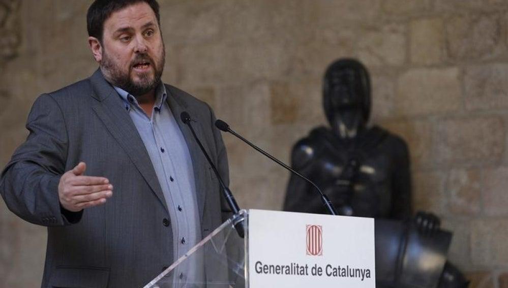 Oriol Junqueras, presidente de ERC, comparece en la Generalitat.