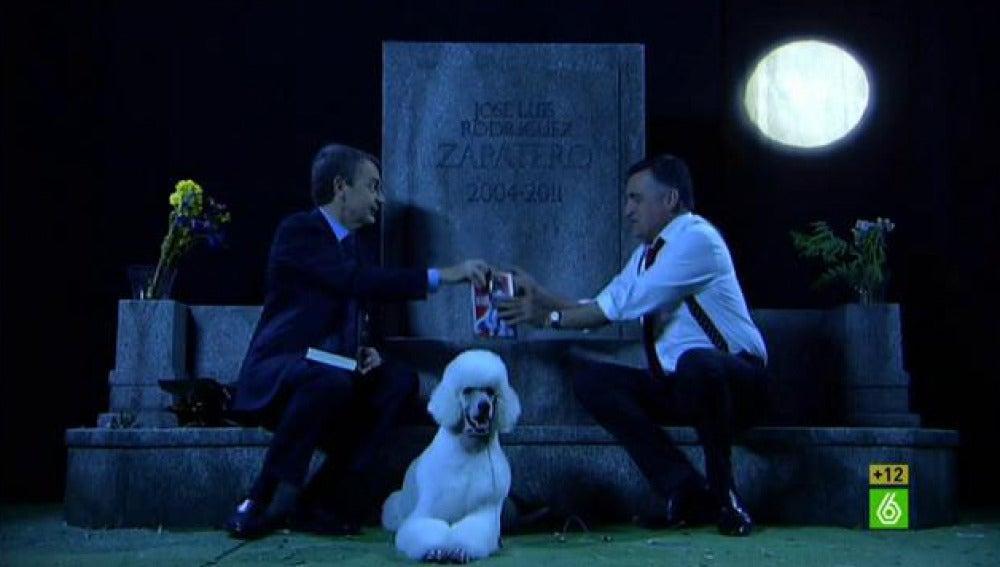Tumba 1 Zapatero y Wyoming, en el cementerio dedicado al expresidente en El Intermedio