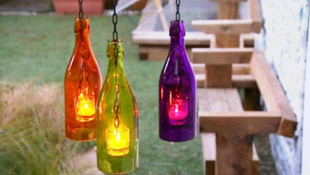 Creamos una luminaria original reutilizando botellas de cristal