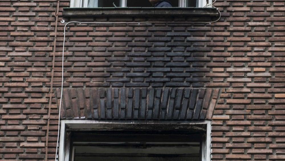 Edificio afectado por el incendio en Bilbao