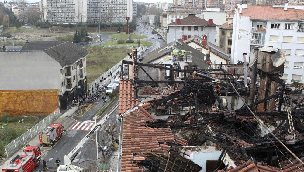 Estado de las viviendas tras el incendio de Pasaia (Gipuzkoa)