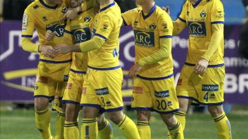 El Alcorcón celebra su gol ante el Espanyol