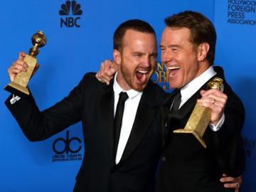 Aaron paul y Bryan cranston celebran los premios de 'Breaking Bad'