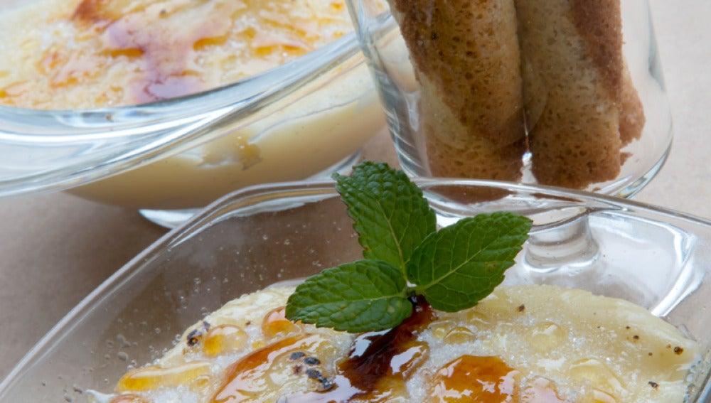 Crema pastelera con canutillos