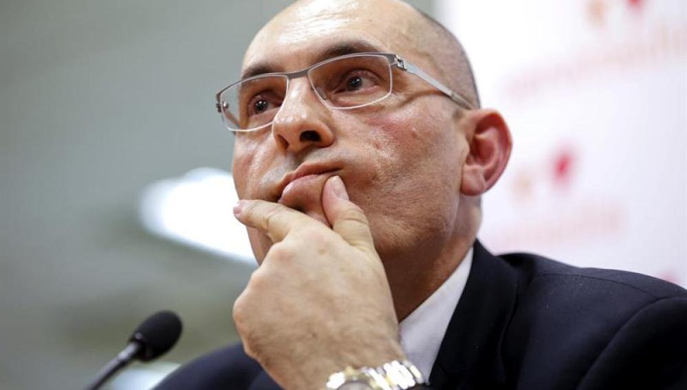 El juez Elpidio José Silva Pacheco durante la rueda de prensa