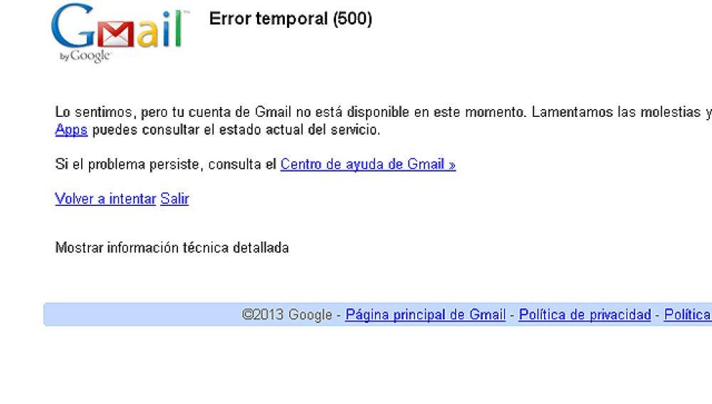 Caída de Gmail