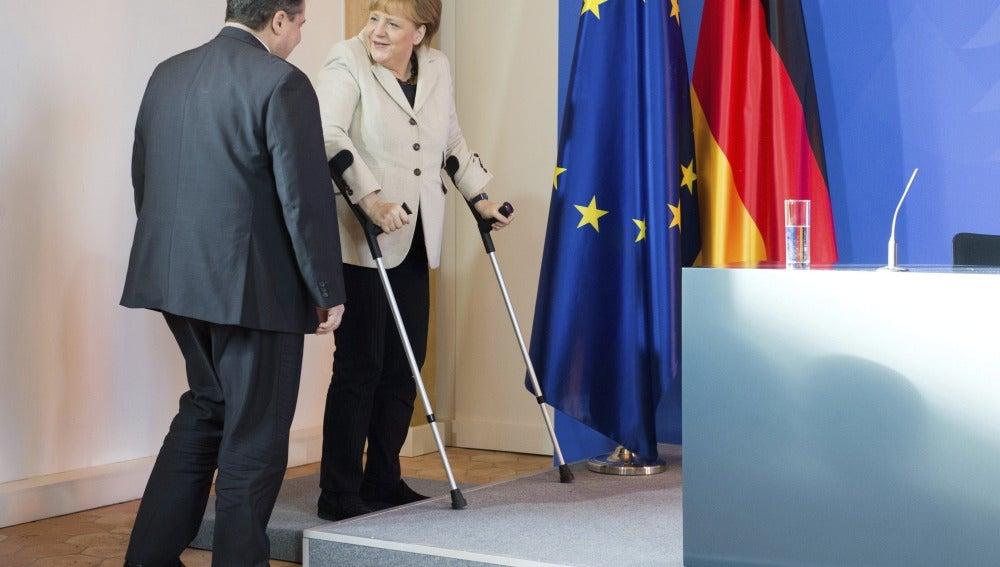 Angela Merkel en rueda de prensa