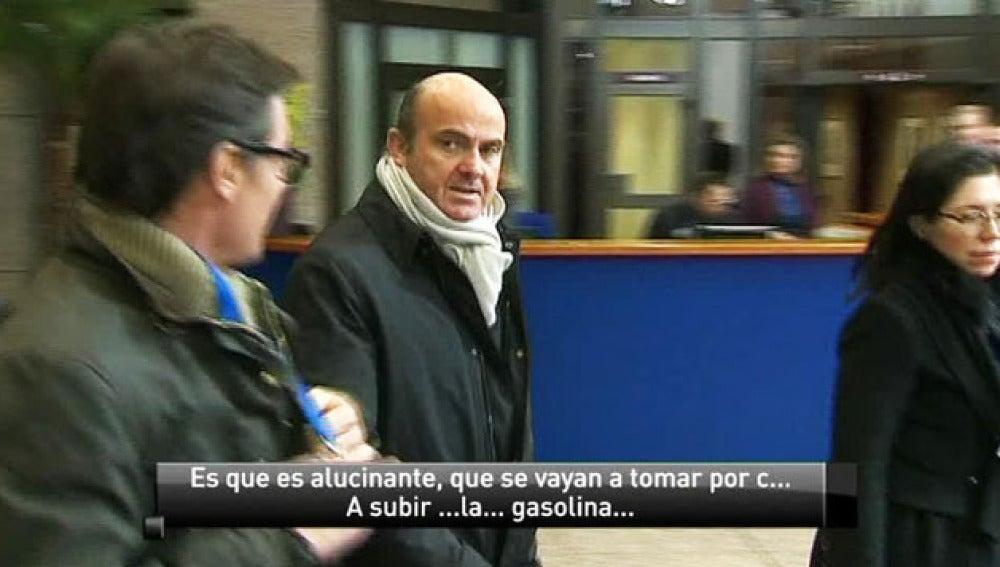Luis De Guindos a su llegada al Eurogrupo.