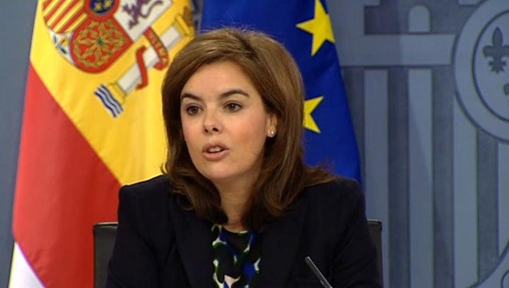 Soraya Sénz de Santamaría en rueda de prensa