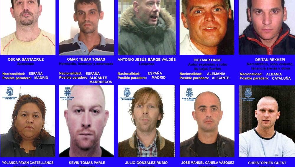 Los diez fugitivos buscados por la Policía