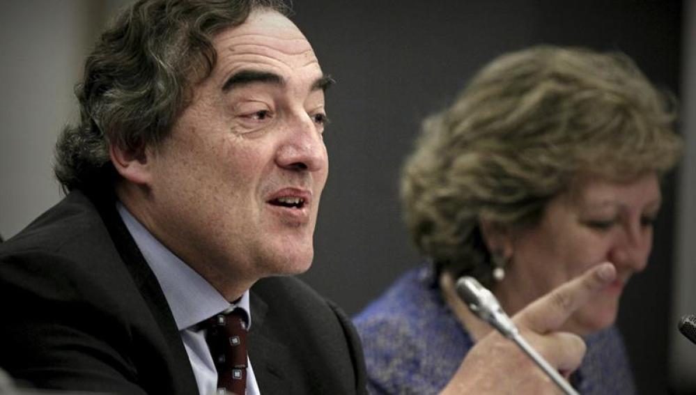 El presidente de CEOE,Juan Rosell en la presentación de las propuestas de la reforma fiscal,