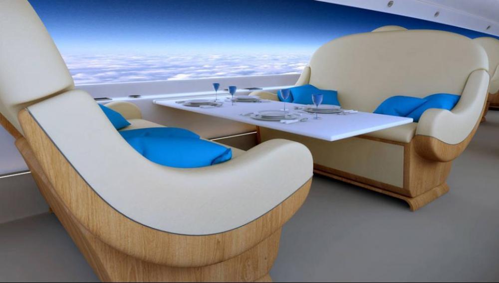 Spyke Aerospace colocará pantallas planas de vídeo que reproducirán el paisaje exterior.